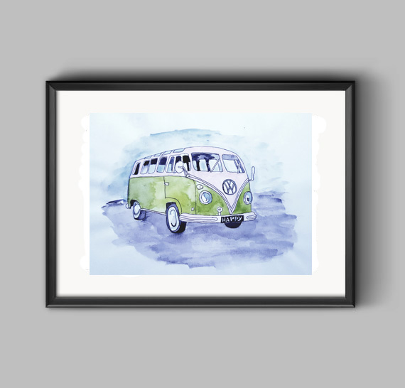 VW Campervan Framed